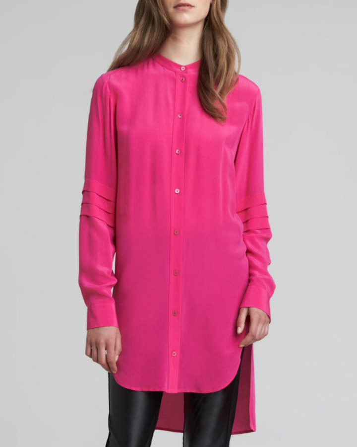 McQ by Alexander McQueen High-Low Crepe de Chine Tunic, Pink