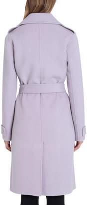 Badgley Mischka Double-Face Wool Knee-Length Wrap Coat