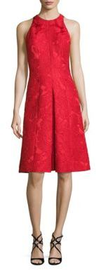 Carmen Marc Valvo Floral Jacquard A-Line Dress $540 thestylecure.com