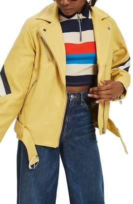 Topshop Strobe Leather Jacket