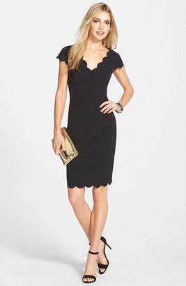 Women's Adrianna Papell Scalloped Crepe Sheath Dress $98 thestylecure.com