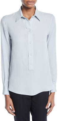 Giorgio Armani Long-Sleeve Button-Front Stretch-Silk Popover Blouse