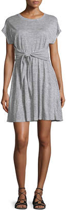 Rebecca Taylor Cap-Sleeve Tie-Waist Jersey Dress, Gray Melange