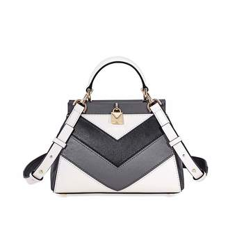 MICHAEL Michael Kors Gramercy Chevron Frame Top Handle Leather Satchel Bag, Grey White Gold