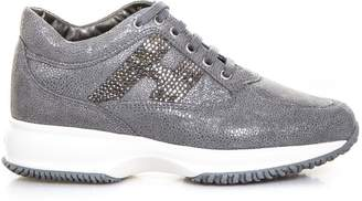Hogan Grey Interactive Shoes In Textured Leather & Rhinestone