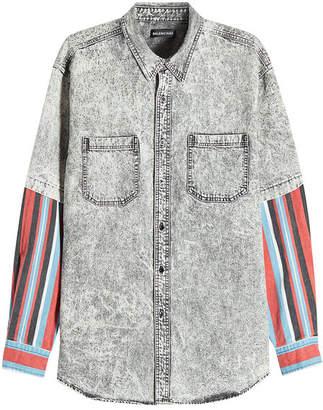 Balenciaga Denim Shirt with Printed Sleeves