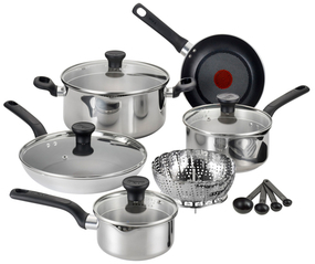 T-Fal Excite Stainless Steel Cookware Set (14 PC)