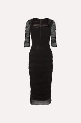 Dolce & Gabbana Ruched Stretch-tulle Midi Dress - Black