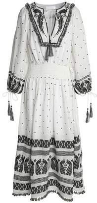 Zimmermann Tasseled Embroidered Linen-Gauze Midi Dress