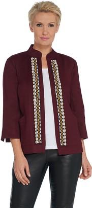 GRAVER Susan Graver Embellished Linen Twill Jacket