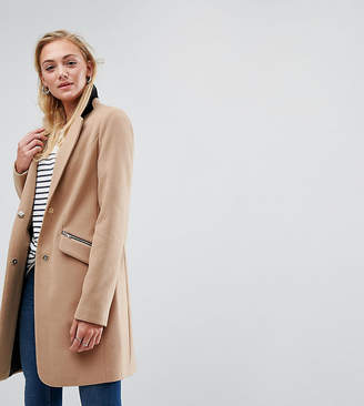Asos Tall Slim Boyfriend Coat With Zip Pocket