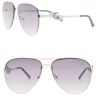 GUESS Women's Aviator Metal Frame Sunglasses