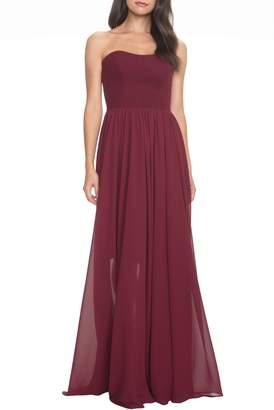 Dress the Population Ella Strapless Crepe Chiffon Gown