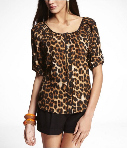 Express Leopard Short Rolled Sleeve Blouse With Piping