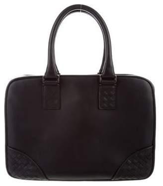 Bottega Veneta Intrecciato-Trimmed Leather Briefcase black Intrecciato-Trimmed Leather Briefcase