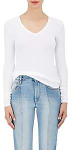 ATM Anthony Thomas Melillo Women's Rib-Knit Long-Sleeve V-Neck Shirt - White