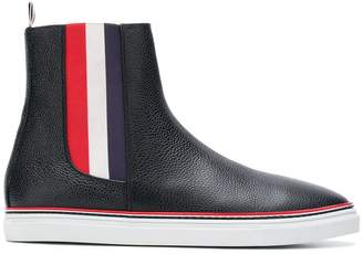 Thom Browne Striped Elastic Chelsea Hi-Top Leather Trainer