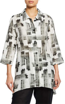 Caroline Rose Plus Size Brushstroke Button-Front Tissue Linen Side-Fall Shirt