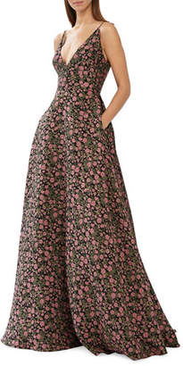 ML Monique Lhuillier Sleeveless V-Neck Floral Jacquard Ball Gown w/ Pockets