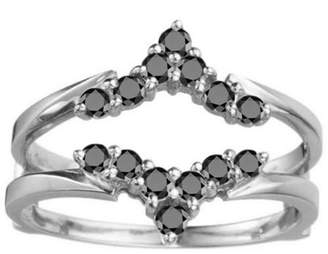 TwoBirch Delicate Style Chevron Style Ring Guard in Sterling Silver (0.33ctw)