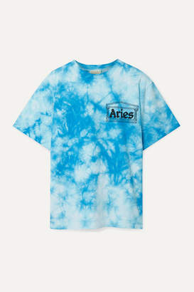 Aries Printed Tie-dyed Cotton-jersey T-shirt - Blue