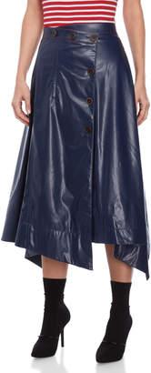 Sonia Rykiel Faux Leather Asymmetric Midi Skirt