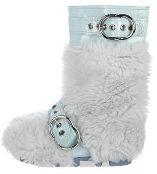 Miu Miu Patent Leather Faux Fur-Trimmed Boots
