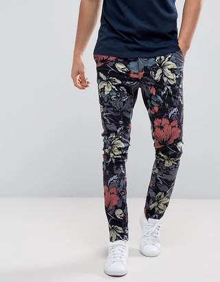 ASOS Super Skinny Pants In Hibiscus Floral Print $48 thestylecure.com