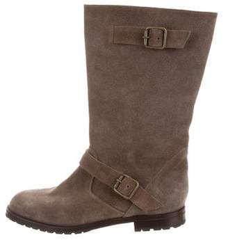 Manolo Blahnik Round-Toe Suede Boots