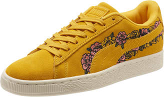 Suede Embroidered Floral Womens Sneakers