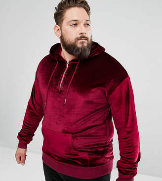 Asos Sixth June Hoodie In Burgundy Velour exclusive to