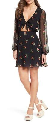 For Love & Lemons Cherry Twist Cutout Minidress