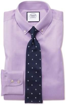 Charles Tyrwhitt Slim Fit Button-Down Non-Iron Twill Puppytooth Lilac Cotton Dress Shirt Single Cuff Size 15/33