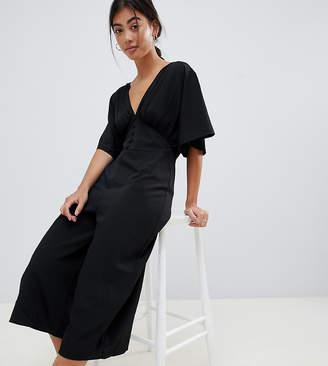 Asos DESIGN Petite Tea Jumpsuit With Kimono Sleeve And Button Detail