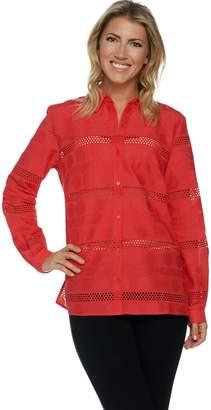 Susan Graver Woven Eyelet Long Sleeve Button Front Shirt