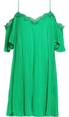 Alice + Olivia Alice+olivia Cold-Shoulder Lace-Trimmed Crepe Mini Dress