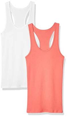 Madeline Kelly Women's 2 Pack Racer Back 1x1 Rib Tank Top Slim-Fit -XL