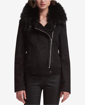 DKNY Faux-Fur-Trim Moto Jacket
