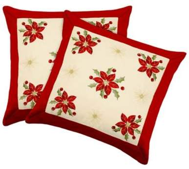 Poinsettia Square Throw Pillow Covers in Red (Set of 2)
