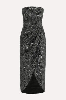 Rasario Strapless Draped Sequined Satin Dress - Gunmetal