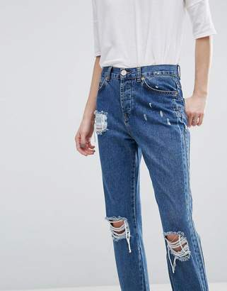 Asos Design Deconstructed Straight Leg Jeans with Stirrup Hem
