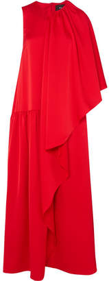 Paper London Draped Crepe De Chine Gown - Red