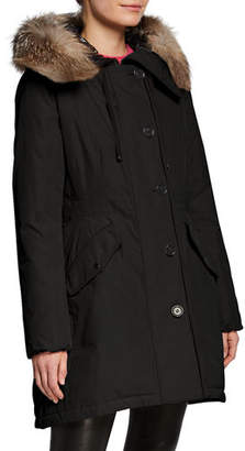 Moncler Monticole Long Parka Coat w/ Fur Trim at Hood