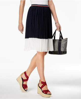 Tommy Hilfiger Pleated Colorblocked Skirt, Created for Macy's