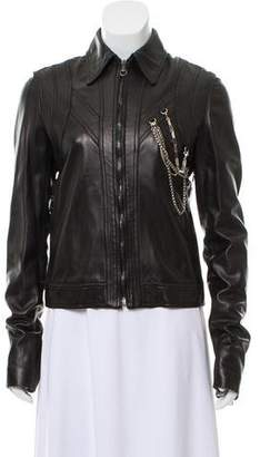Versus Leather Zip-Up Jacket