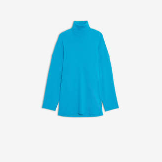 Balenciaga Big Fit Turtleneck in turquoise ribbed jersey