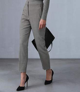 Reiss Our last order date for Christmas has now passed PERLA TROUSER PUPPYTOOTH PRINTED SLIM LEG TROUSERS Black/white