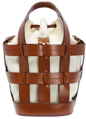 Trademark 'Cooper Cage' canvas pouch leather bucket tote
