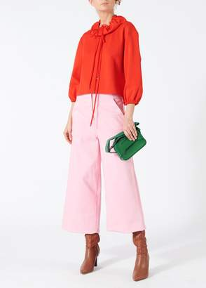 Tibi Bond Stretch Knit Cropped Anorak Pullover