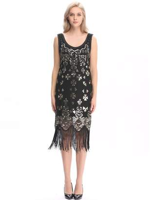 Wuchieal Women's 1920s Sequined Embellished Fringed Flapper Gatsby Dress S